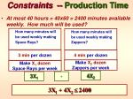 constraints production time