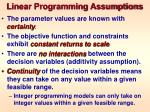 linear programming assumptions