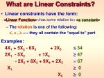what are linear constraints