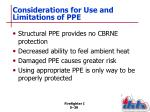 considerations for use and limitations of ppe1
