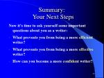summary your next steps