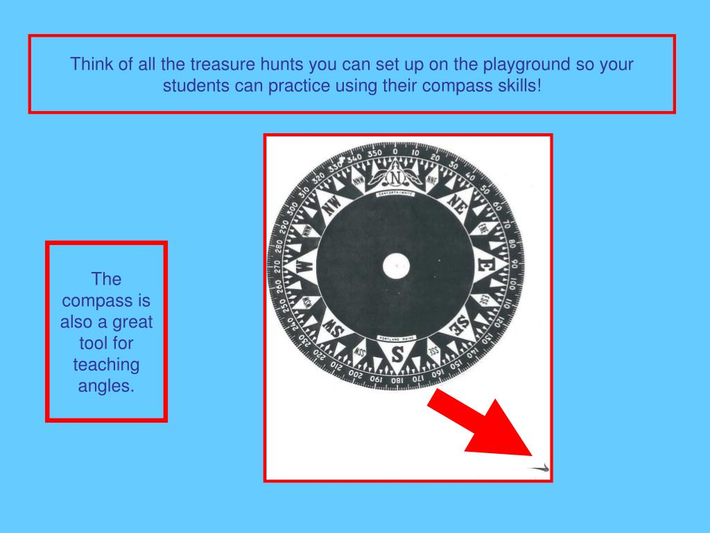 Think of all the treasure hunts you can set up on the playground so your students can practice using their compass skills!