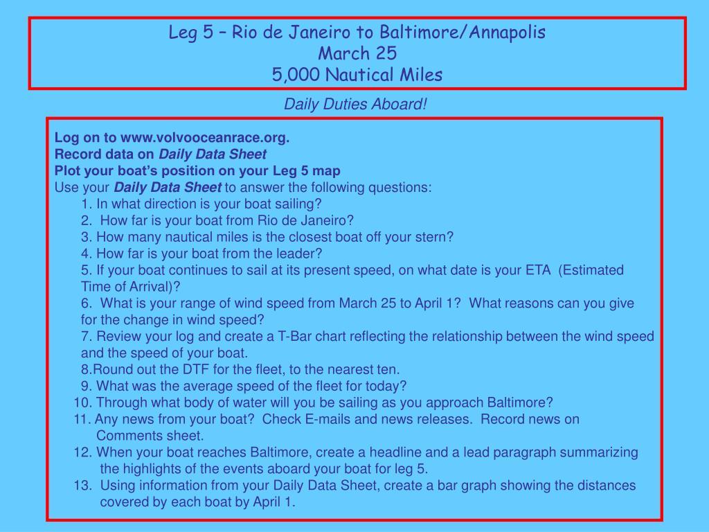 Leg 5 – Rio de Janeiro to Baltimore/Annapolis