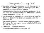 changes in c12 e g she