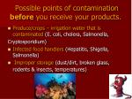 possible points of contamination before you receive your products