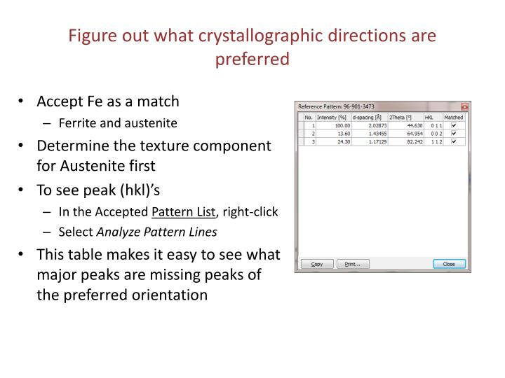 Figure out what crystallographic directions are preferred