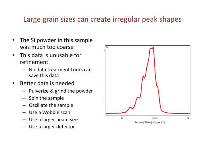 Large grain sizes can create irregular peak shapes