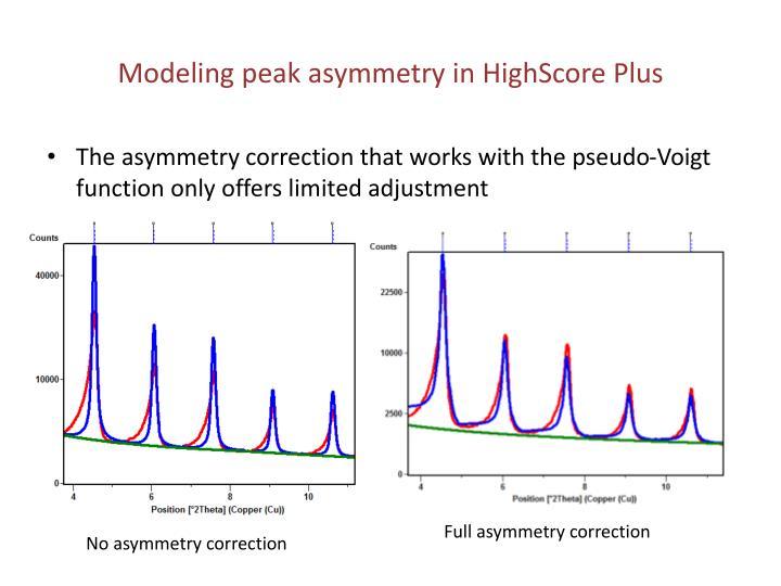 Modeling peak asymmetry in