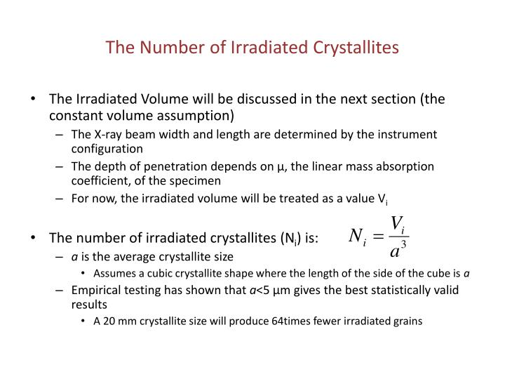 The Number of Irradiated Crystallites