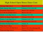 high school open house dates cont
