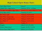 high school open house dates