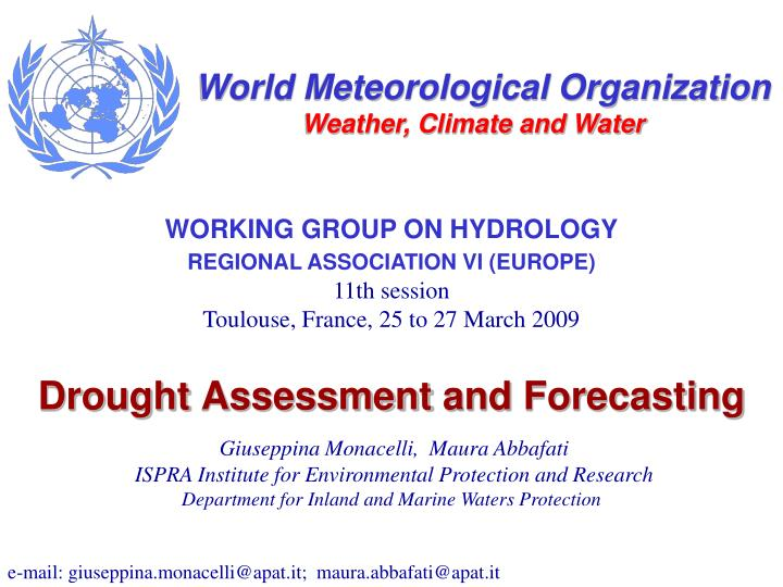 drought assessment and forecasting n.