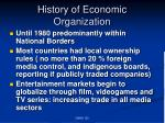 history of economic organization