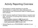 activity reporting overview