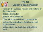 the nt leader team member