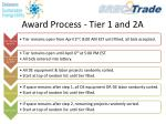 award process tier 1 and 2a
