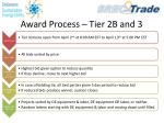 award process tier 2b and 3