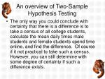 an overview of two sample hypothesis testing1