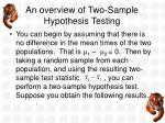 an overview of two sample hypothesis testing2