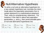 null alternative hypothesis