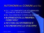 autonomia dei comuni art 3 t u