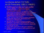 la riforma dell art 113 tuel art 35 finanziaria 2002 l 448 01