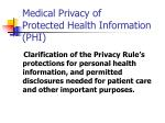 medical privacy of protected health information phi