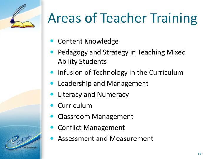 Areas of Teacher Training