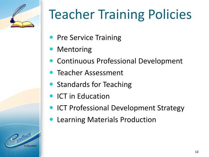 Teacher Training Policies