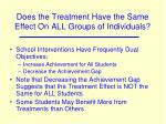does the treatment have the same effect on all groups of individuals