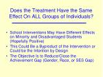 does the treatment have the same effect on all groups of individuals1