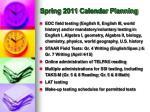 spring 2011 calendar planning