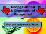testing calendar organizational management