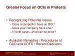greater focus on ocis in protests