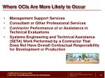 where ocis are more likely to occur