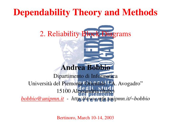dependability theory and methods 2 reliability block diagrams n.
