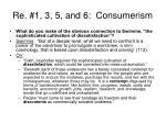 re 1 3 5 and 6 consumerism
