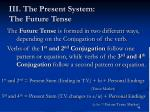 iii the present system the future tense