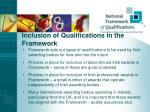 inclusion of qualifications in the framework