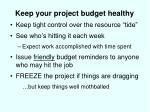 keep your project budget healthy