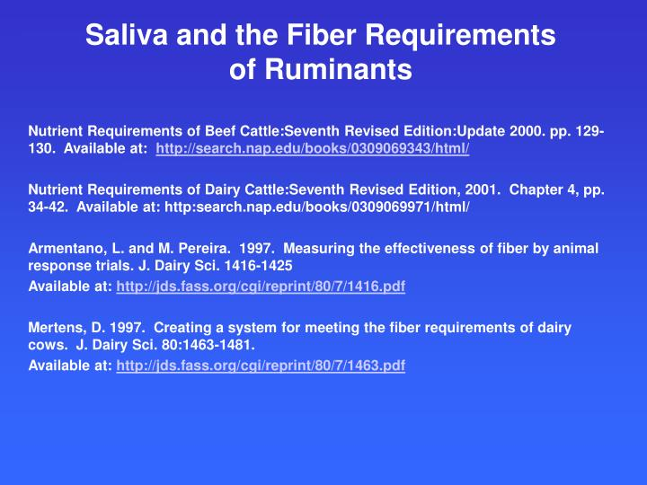 saliva and the fiber requirements of ruminants n.