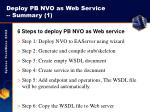 deploy pb nvo as web service summary 1