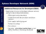 sybase developer network sdn