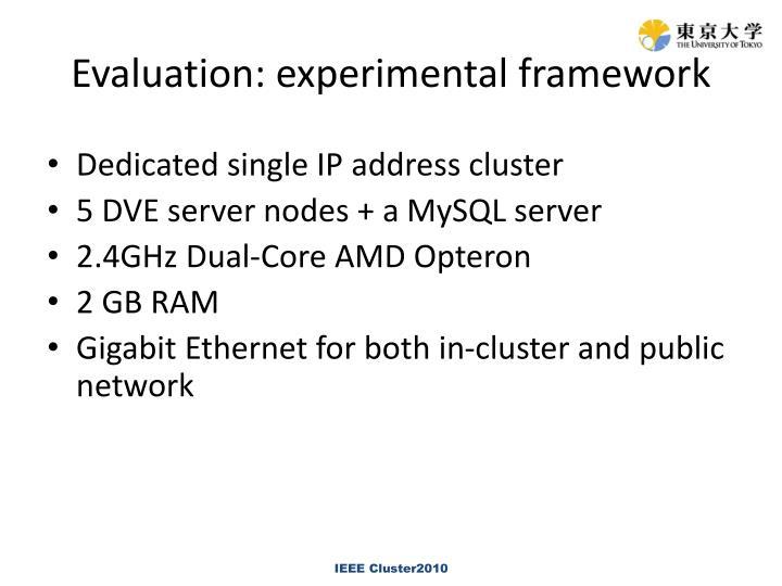 Evaluation: experimental framework
