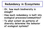 redundancy in ecosystems