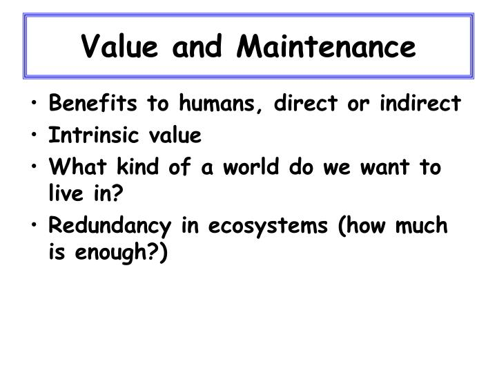 Value and maintenance