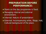 preparation before performance