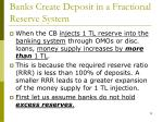 banks create deposit in a fractional reserve system