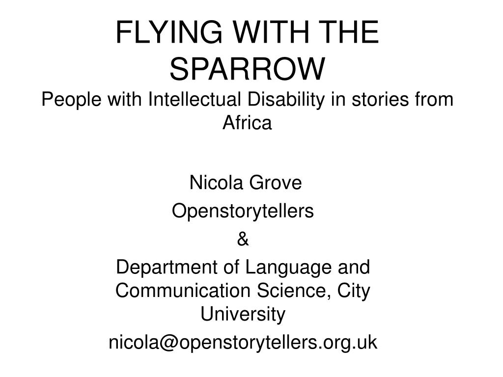 flying with the sparrow people with intellectual disability in stories from africa l.