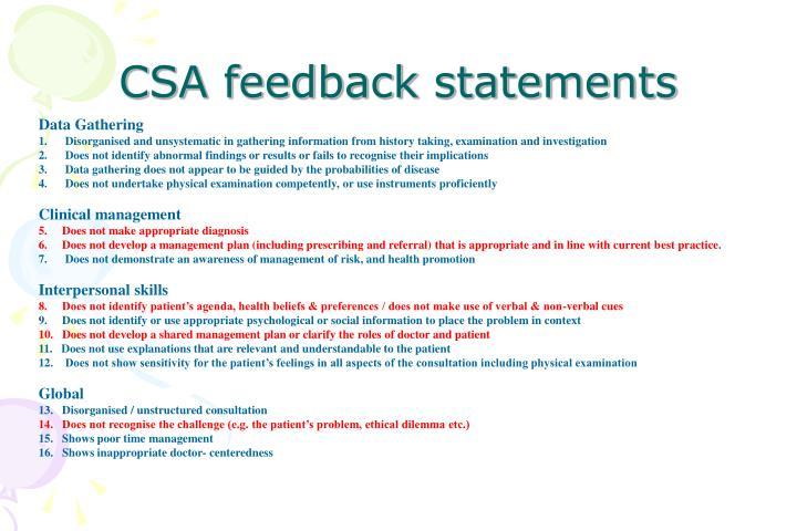 CSA feedback statements